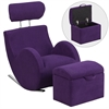 HERCULES Series Purple Fabric Rocking Chair with Storage Ottoman