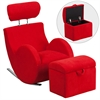 HERCULES Series Red Fabric Rocking Chair with Storage Ottoman