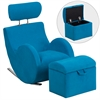 HERCULES Series Turquoise Blue Fabric Rocking Chair with Storage Ottoman
