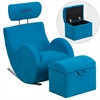 Personalized HERCULES Series Turquoise Blue Fabric Rocking Chair with Storage Ottoman