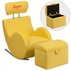 Flash Furniture Personalized HERCULES Series Yellow Fabric Rocking Chair with Storage Ottoman