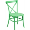 Flash Furniture HERCULES Series Green Resin Indoor-Outdoor Cross Back Chair with Steel Inner Leg