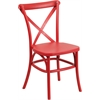 HERCULES Series Red Resin Indoor-Outdoor Cross Back Chair with Steel Inner Leg