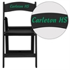 Flash Furniture Personalized HERCULES Series 1000 lb. Capacity Black Resin Folding Chair with Black Vinyl Padded Seat