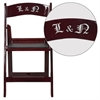 Personalized HERCULES Series 1000 lb. Capacity Red Mahogany Resin Folding Chair with Black Vinyl Padded Seat