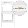 Personalized HERCULES Series 1000 lb. Capacity White Resin Folding Chair with White Vinyl Padded Seat