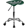 Vibrant Green Tractor Seat and Chrome Stool