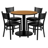 Flash Furniture 36'' Round Natural Laminate Table Set with 4 Grid Back Metal Chairs - Black Vinyl Seat