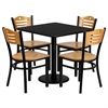 Flash Furniture 30'' Square Black Laminate Table Set with 4 Wood Slat Back Metal Chairs - Natural Wood Seat
