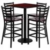 30'' Square Mahogany Laminate Table Set with 4 Ladder Back Metal Barstools - Mahogany Wood Seat
