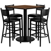 Flash Furniture 36'' Square Walnut Laminate Table Set with 4 Grid Back Metal Barstools - Black Vinyl Seat