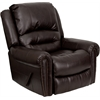 Flash Furniture Plush Brown Leather Lever Rocker Recliner with Brass Accent Nails