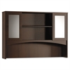 Mayline Brighton Series Double-Height Glass Door Hutch, 72w x 15d x 50-1/2h, Mocha