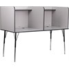 Flash Furniture Double Wide Study Carrel with Adjustable Legs and Top Shelf in Nebula Grey Finish