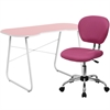 Flash Furniture Pink Computer Desk and Mesh Chair