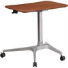 Mobile Sit-Down, Stand-Up Mahogany Computer Desk with 28.25''W Top (Adjustable Range 28'' - 40.25'')