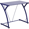 Flash Furniture Contemporary Tempered Blue Glass Computer Desk with Matching Frame