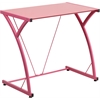 Contemporary Tempered Pink Glass Computer Desk with Matching Frame