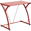 Contemporary Tempered Red Glass Computer Desk with Matching Frame