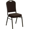 HERCULES Series Crown Back Stacking Banquet Chair with Brown Patterned Fabric and 2.5'' Thick Seat - Gold Vein Frame