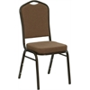 Flash Furniture HERCULES Series Crown Back Stacking Banquet Chair with Coffee Fabric and 2.5'' Thick Seat - Gold Vein Frame