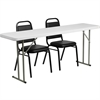 Flash Furniture 18'' x 72'' Plastic Folding Training Table with 2 Trapezoidal Back Stack Chairs