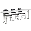 18'' x 96'' Plastic Folding Training Table Set with 3 Black Plastic Stack Chairs