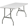 Flash Furniture 30''W x 60''L Bi-Fold Granite White Plastic Folding Table