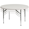 Flash Furniture 48'' Round Height Adjustable Granite White Plastic Folding Table