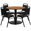 Flash Furniture 36'' Round Natural Laminate Table Set with 4 Black Trapezoidal Back Banquet Chairs