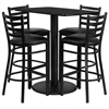 Flash Furniture 24'' x 42'' Rectangular Black Laminate Table Set with 4 Ladder Back Metal Barstools - Black Vinyl Seat