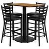 Flash Furniture 24'' x 42'' Rectangular Natural Laminate Table Set with 4 Ladder Back Metal Barstools - Black Vinyl Seat