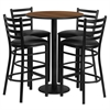 30'' Round Walnut Laminate Table Set with 4 Ladder Back Metal Barstools - Black Vinyl Seat
