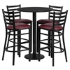 Flash Furniture 30'' Round Black Laminate Table Set with 4 Ladder Back Metal Barstools - Burgundy Vinyl Seat