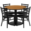 36'' Round Natural Laminate Table Set with 4 Ladder Back Metal Chairs - Black Vinyl Seat