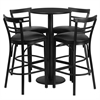 24'' Round Black Laminate Table Set with 4 Ladder Back Barstools - Black Vinyl Seat