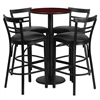 24'' Round Mahogany Laminate Table Set with 4 Ladder Back Metal Barstools - Black Vinyl Seat