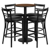 Flash Furniture 24'' Round Walnut Laminate Table Set with 4 Ladder Back Barstools - Black Vinyl Seat