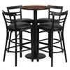 24'' Round Walnut Laminate Table Set with 4 Ladder Back Metal Barstools - Black Vinyl Seat