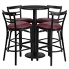 Flash Furniture 24'' Round Black Laminate Table Set with 4 Ladder Back Metal Barstools - Burgundy Vinyl Seat