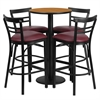24'' Round Natural Laminate Table Set with 4 Ladder Back Metal Barstools - Burgundy Vinyl Seat