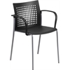 Flash Furniture HERCULES Series 551 lb. Capacity Black Stack Chair with Air-Vent Back and Arms