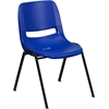 HERCULES Series 440 lb. Capacity Navy Ergonomic Shell Stack Chair with Black Frame and 12'' Seat Height