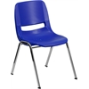 HERCULES Series 440 lb. Capacity Navy Ergonomic Shell Stack Chair with Chrome Frame and 12'' Seat Height