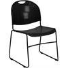 Flash Furniture HERCULES Series 880 lb. Capacity Black Ultra Compact Stack Chair with Black Frame