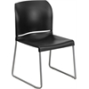 Flash Furniture HERCULES Series 880 lb. Capacity Black Full Back Contoured Stack Chair with Sled Base