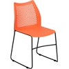 HERCULES Series 661 lb. Capacity Orange Sled Base Stack Chair with Air-Vent Back