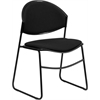 Flash Furniture HERCULES Series 550 lb. Capacity Black Padded Stack Chair with Black Frame