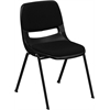 HERCULES Series 880 lb. Capacity Black Ergonomic Shell Stack Chair with Padded Seat and Back