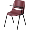 Flash Furniture Burgundy Ergonomic Shell Chair with Left Handed Flip-Up Tablet Arm